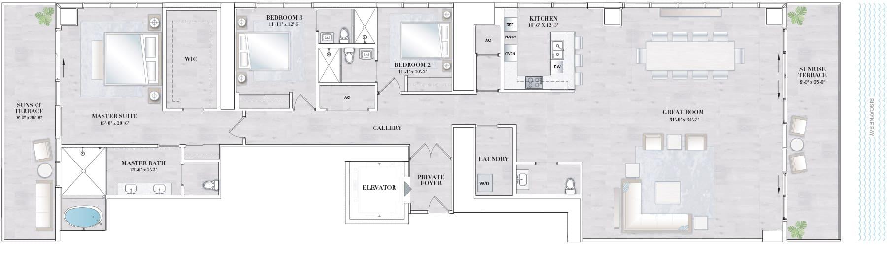 Elysee Edgewater Floor Plan C3