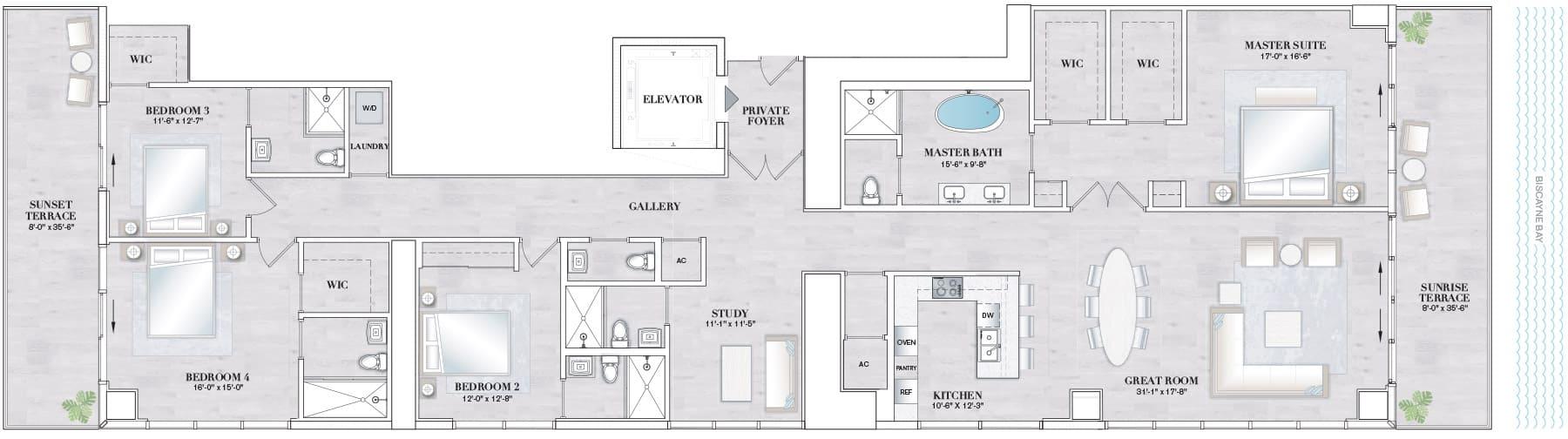 Elysee Edgewater Floor Plan D