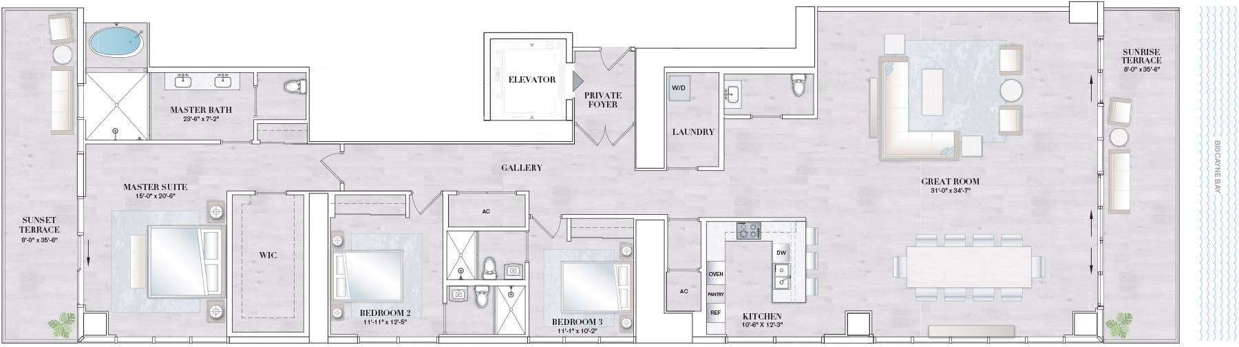 Elysee Edgewater Floor Plan D3