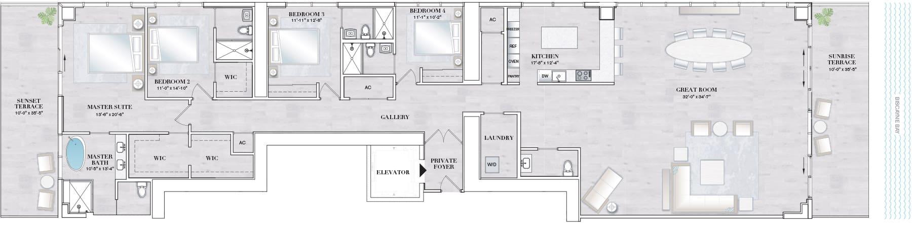 Elysee Edgewater Floor Plan E1
