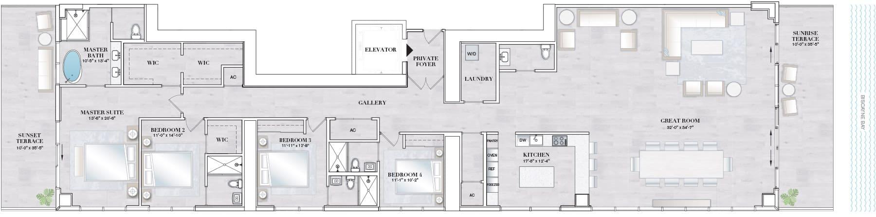 Elysee Edgewater Floor Plan F1