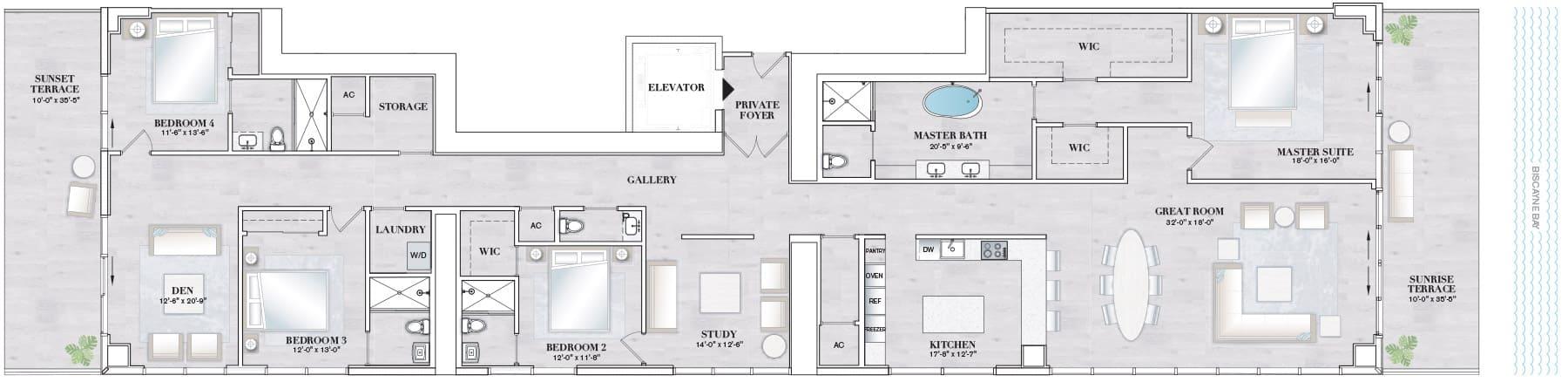 Elysee Edgewater Floor Plan F