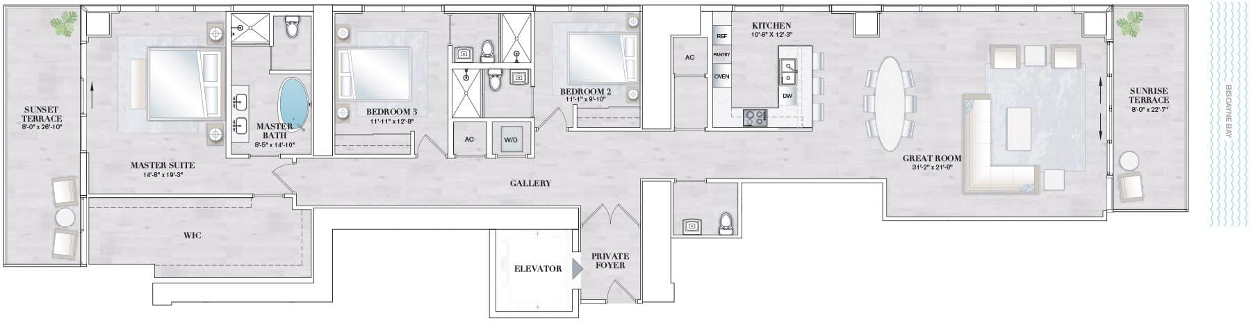 Elysee Edgewater Miami Floorplan K
